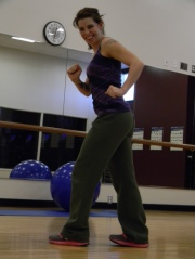 "Carmen Russell demonstrating the ""Cumbia"" move in her Zumba class. Photo Courtesy of Marina Garza."